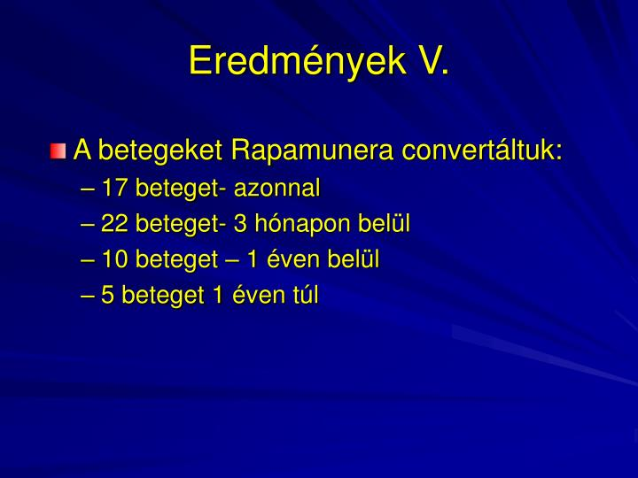 Eredmények V.