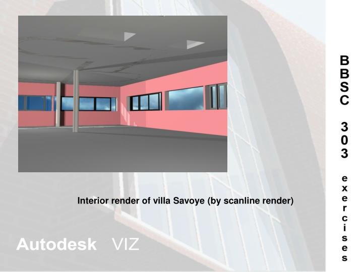 Interior render of villa Savoye (by scanline render)