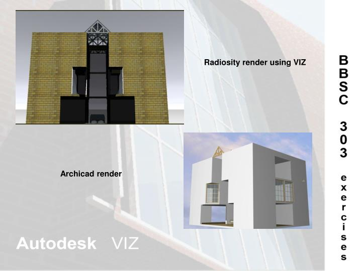 Radiosity render using VIZ