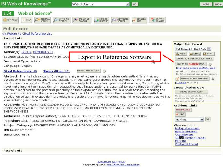 Export to Reference Software