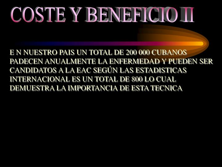 COSTE Y BENEFICIO II