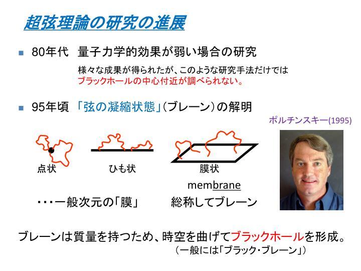 超弦理論の研究の進展