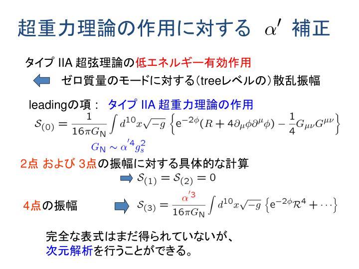 超重力理論の作用に対する   補正