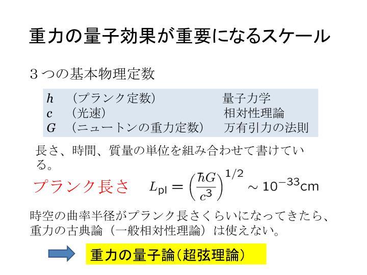重力の量子効果が重要になるスケール