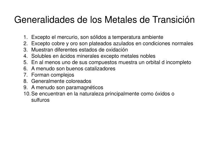 Generalidades de los Metales de Transición
