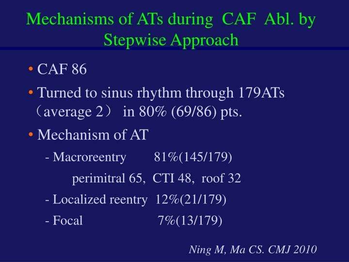 Mechanisms of ATs during  CAF  Abl. by Stepwise Approach