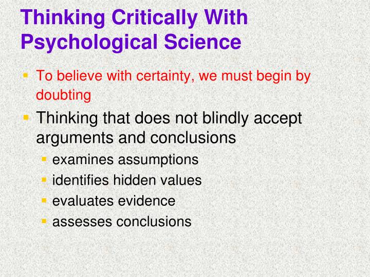 Thinking critically with psychological science