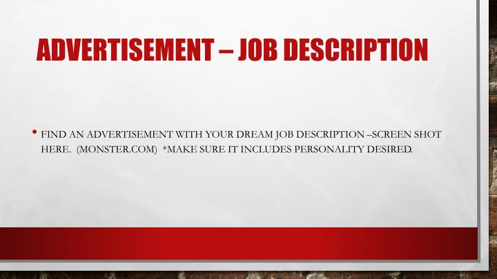 Advertisement – Job Description