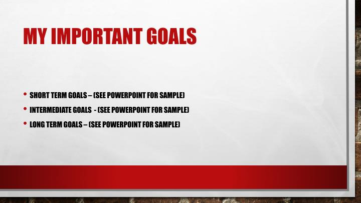 My Important Goals