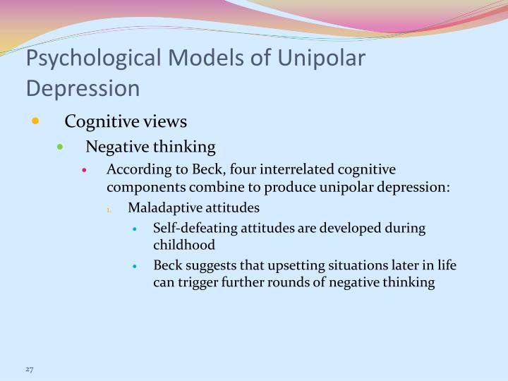 Psychological Models of Unipolar Depression
