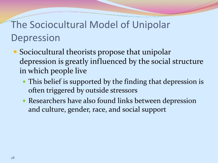 The Sociocultural Model of Unipolar Depression