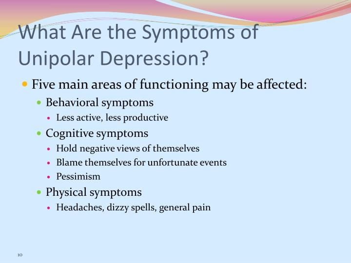 What Are the Symptoms of Unipolar Depression?