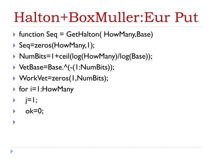 Halton+BoxMuller:Eur