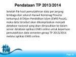 pendataan tp 2013 2014