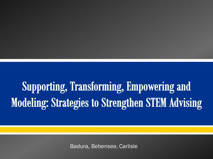 Supporting transforming empowering and modeling strategies to strengthen stem advising