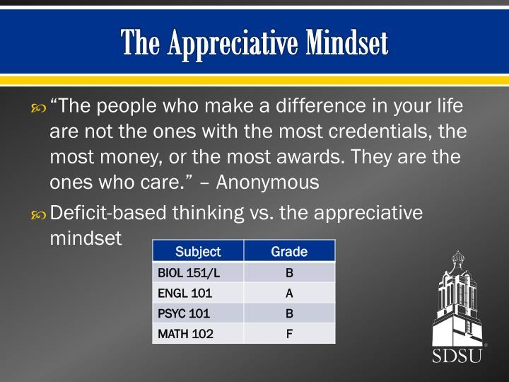 The Appreciative Mindset
