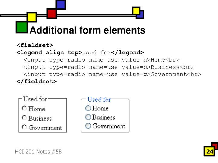 Additional form elements