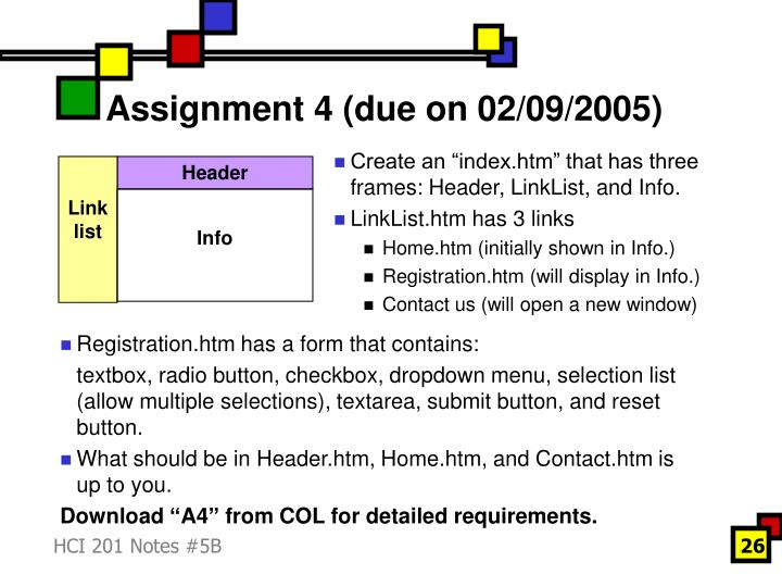Assignment 4 (due on 02/09/2005)