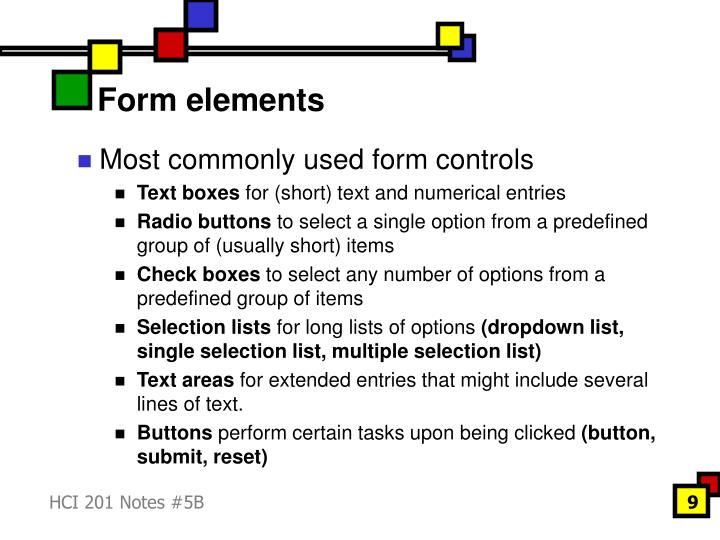 Form elements