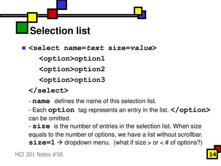 Selection list