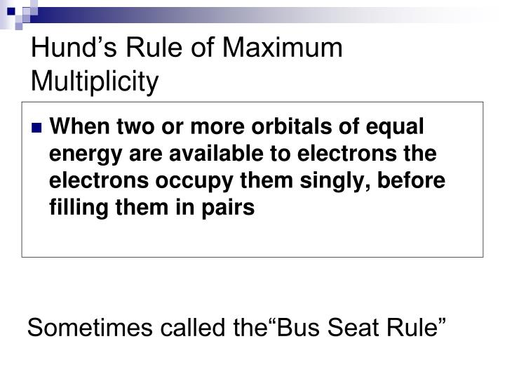 Hund's Rule of Maximum Multiplicity