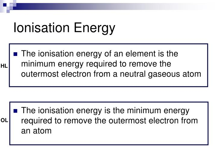 Ionisation Energy