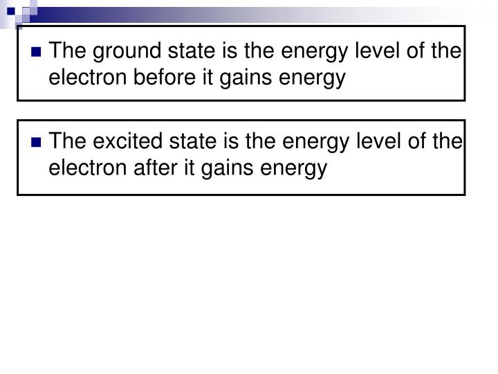 The ground state is the energy level of the electron before it gains energy