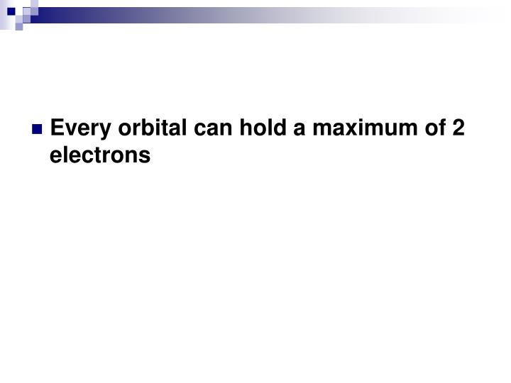 Every orbital can hold a maximum of 2 electrons