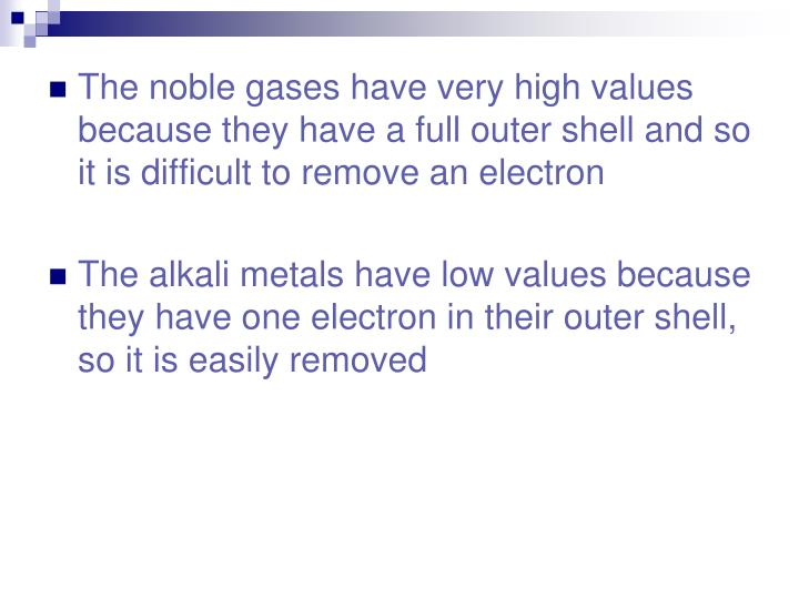 The noble gases have very high values because they have a full outer shell and so it is difficult to remove an electron