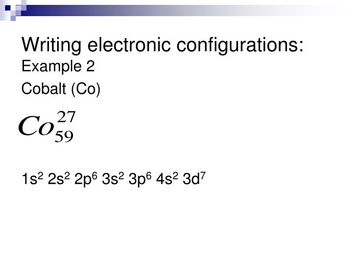 Writing electronic configurations: