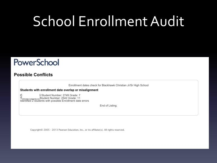 School Enrollment Audit