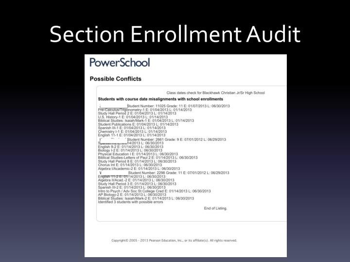 Section Enrollment Audit
