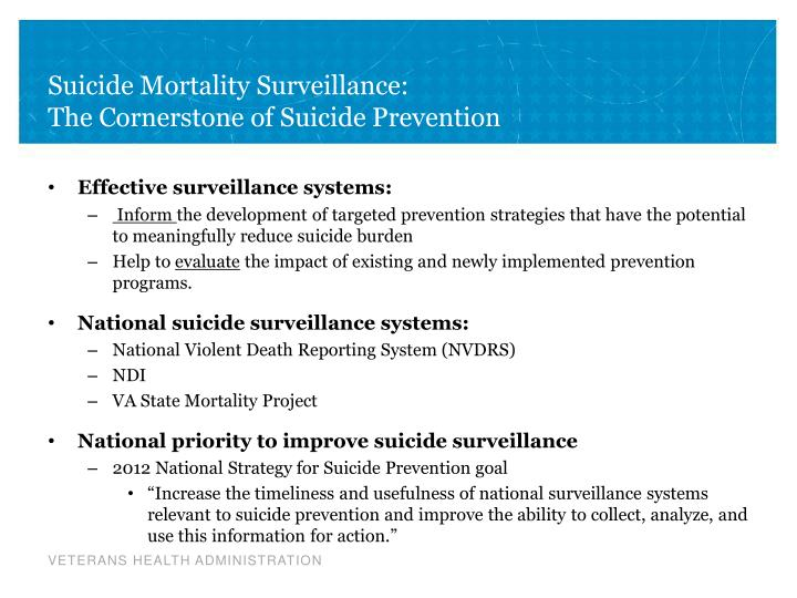 Suicide mortality surveillance the cornerstone of suicide prevention