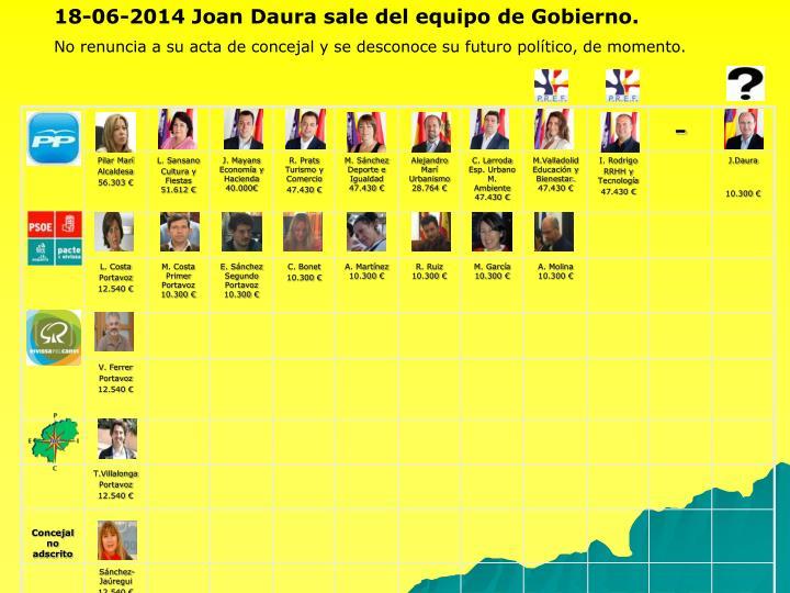 18-06-2014 Joan Daura sale del equipo de Gobierno.