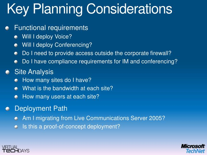 Key Planning Considerations