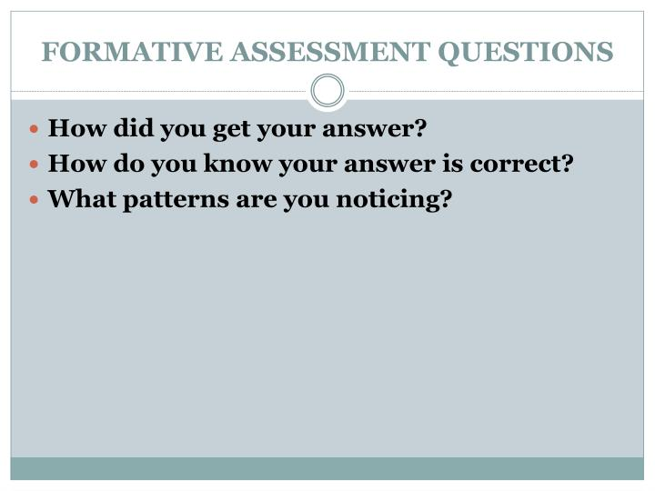 FORMATIVE ASSESSMENT QUESTIONS