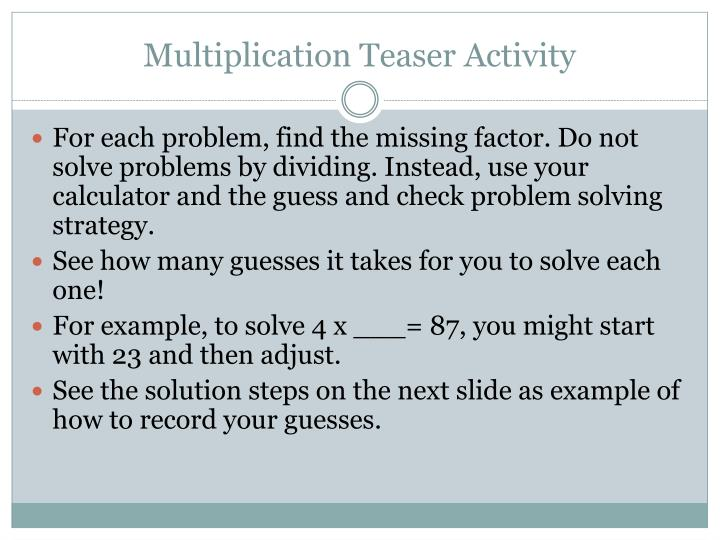 Multiplication Teaser Activity