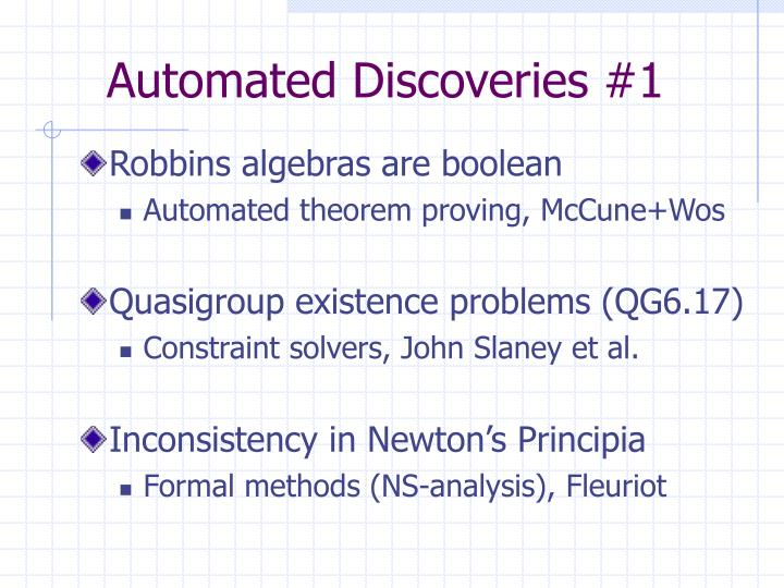 Automated discoveries 1