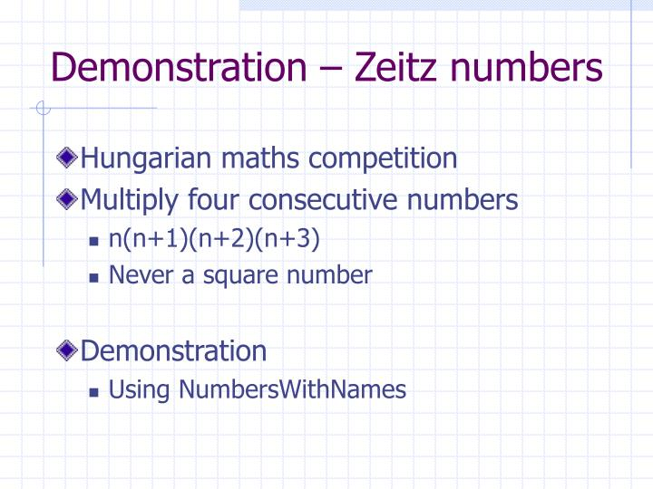 Demonstration – Zeitz numbers