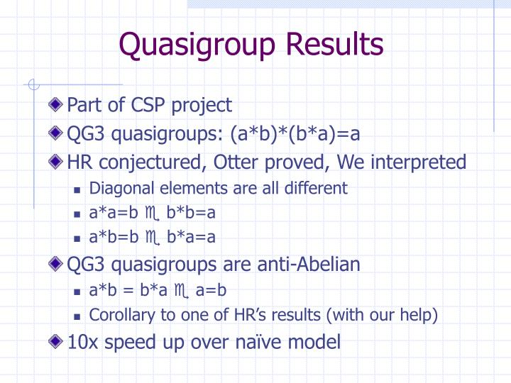 Quasigroup Results