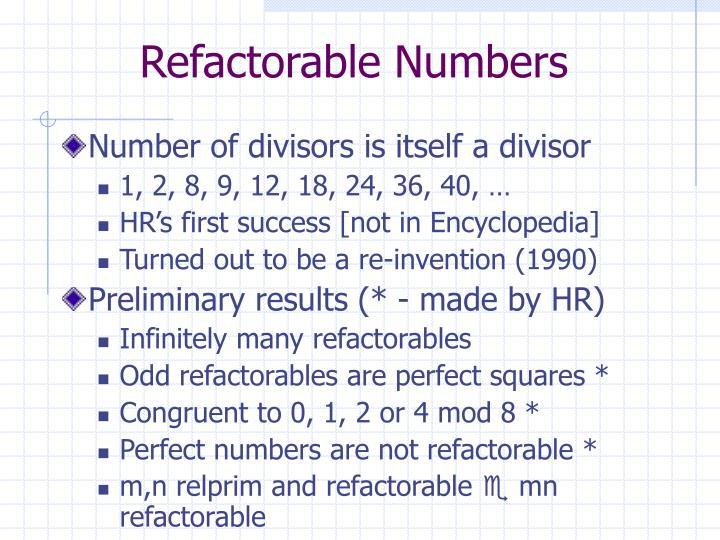 Refactorable Numbers