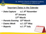 important dates in the calendar