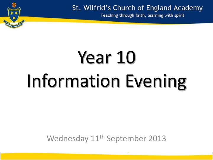 Year 10 information evening