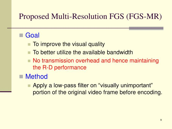 Proposed Multi-Resolution FGS (FGS-MR)