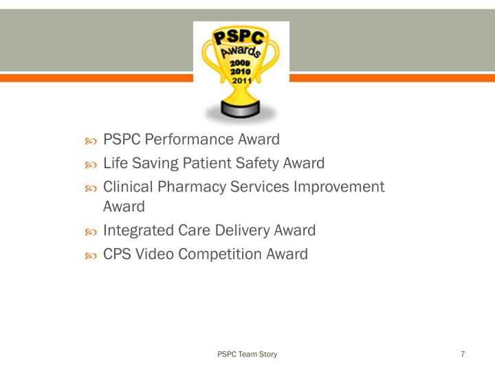 PSPC Performance Award