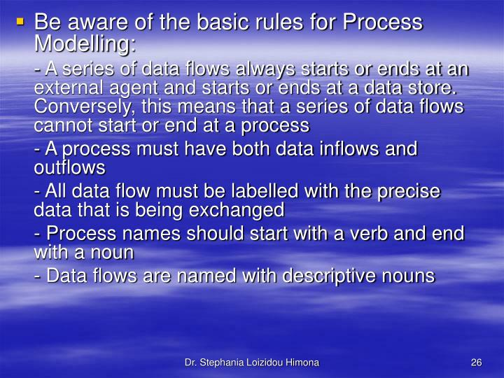 Be aware of the basic rules for Process Modelling: