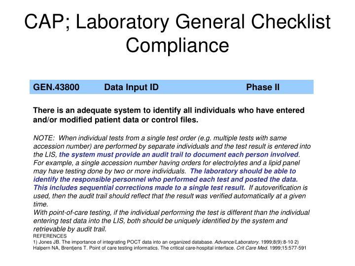 CAP; Laboratory General Checklist Compliance