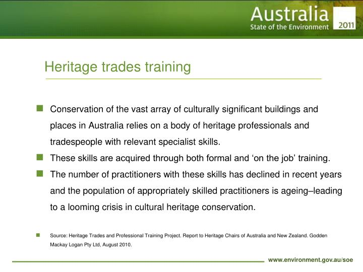 Heritage trades training