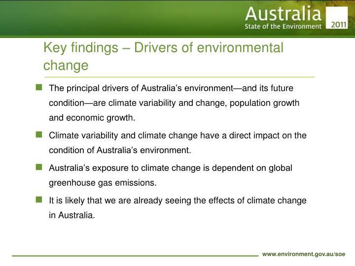 Key findings – Drivers of environmental change