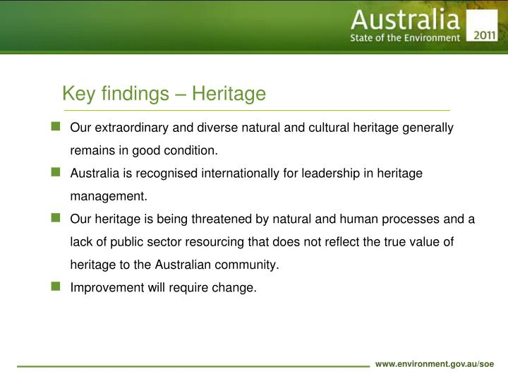 Key findings – Heritage